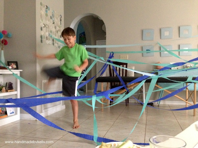 handmadebykelly.com; What to Do with a Kid when Mom is Sick?; streamers; obstacle course