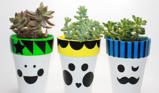 flower pot family craft - kelly ladd sanchez; handmadebykelly.com; succulent crafts, diy modern flower pot