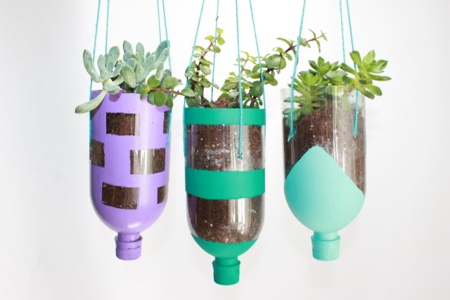 How to make a diy planter craft out of recycled water for What to make out of water bottles
