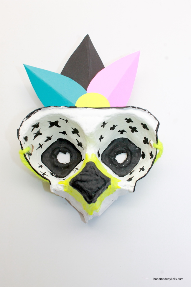 how to make an egg carton mask craft; handmadebykelly.com