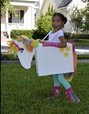 Rainbow Unicorn DIY Cardboard Halloween Costumes - handmadebykelly.com; scholastic.com