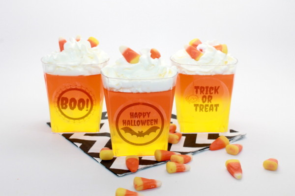 Halloween Candy Corn Jello Treat Recipe + Free Printable; handmadebykelly.com; onlinelabels.com