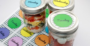 cobb-salad- Mason Jar Salad Recipes + Free Printable; handmadebykelly.com; onlinelabels.com