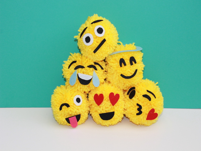 Diy Emoji Pom Pom Christmas Ornaments Handmade By Kelly