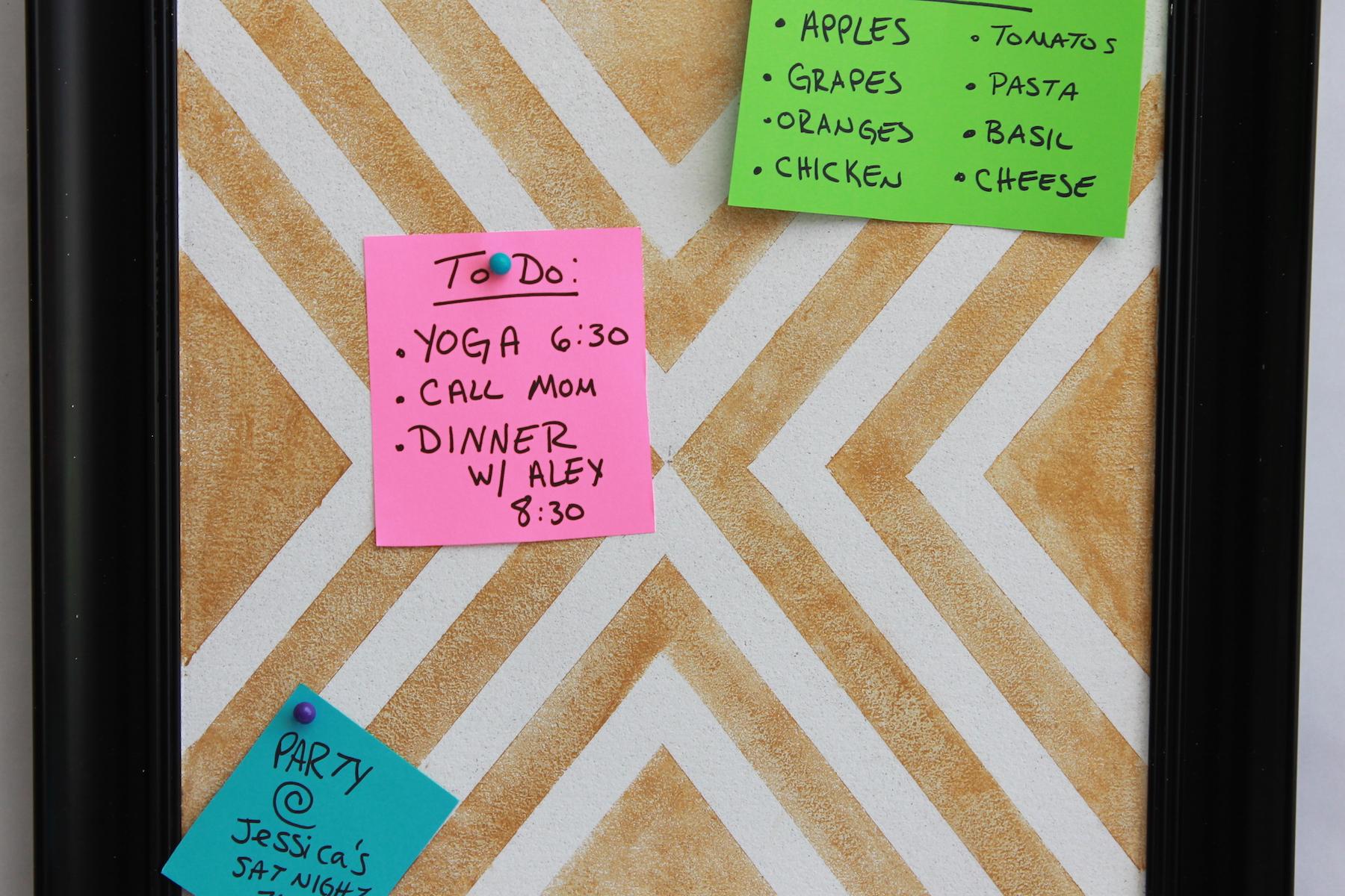 DIY Cork Board; handmadebykelly.com; forrent.com