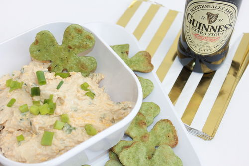 St. Patrick's Day Beer Cheese Dip with Shamrock Chips; handmadebykelly.com; thestir.com