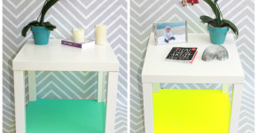 2 in 1 Ikea Hack Lack Table; handmadebykelly.com; momtastic.com; neon trend DIY home