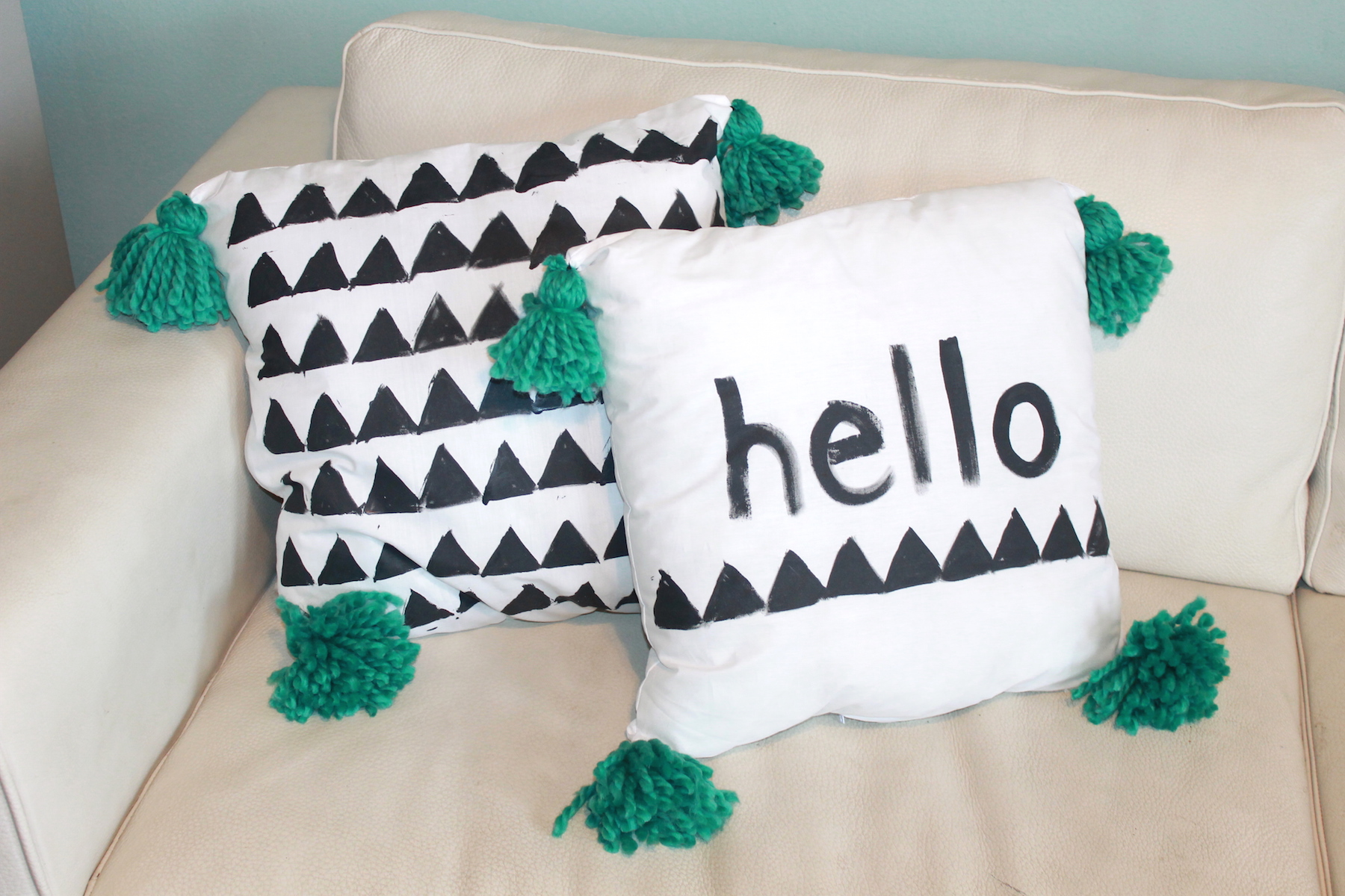 DIY Stamped Pillows and DIY Tassels ; handmadebykelly.com; forrent.com