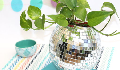Disco Ball Planter Pot; handmadebykelly.com; momtastic.com