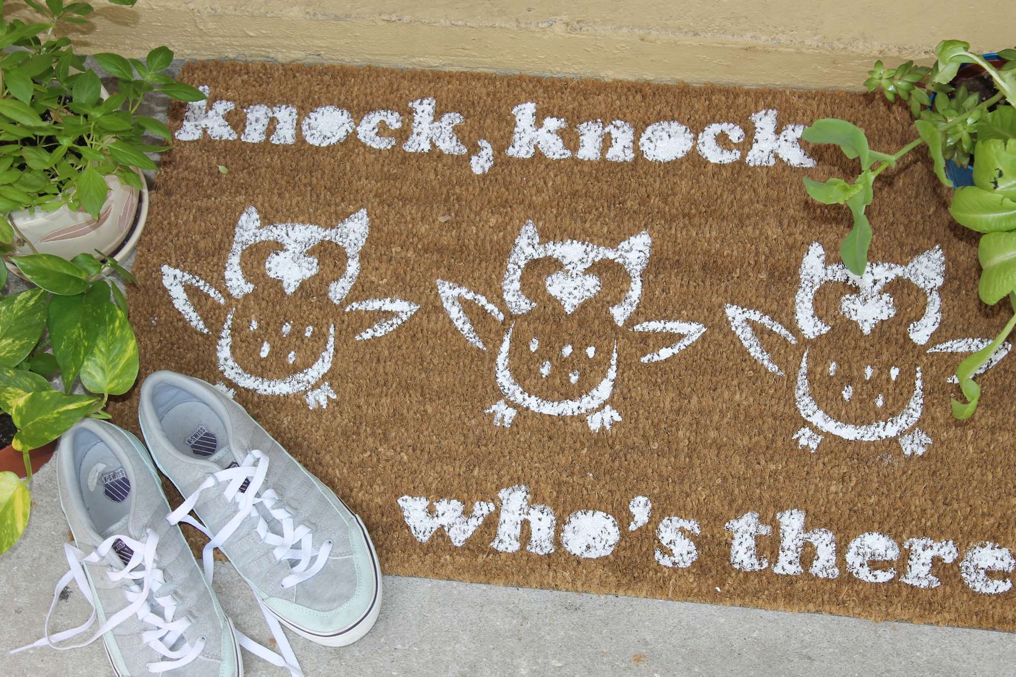 diy painted doormat; handmadebykelly.com; forrent.com & How to Paint and Customize a DIY Door Mat | Handmade by Kelly