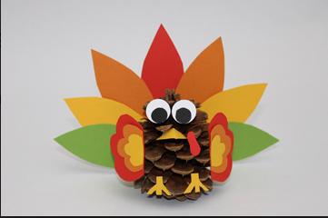 turkey pinecone thanksgiving craft; scholastic.com; handmadebykelly.com