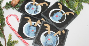 DIY Holiday Photo Coasters with labels; onlinelabels.com; handmadebykelly.com