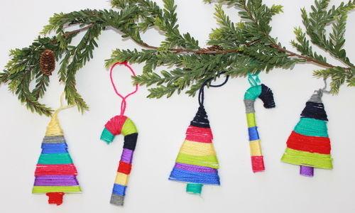 DIY Yarn Wrapped Christmas Ornaments - handmadebykelly.com; thestir.com