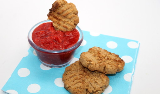 """Gluten Free Peanut Butter Cookie with Strawberry """"Jelly"""" Dip; handmadebykelly.com"""