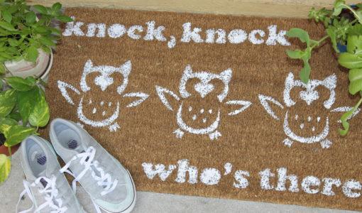 diy painted doormat; handmadebykelly.com; forrent.com