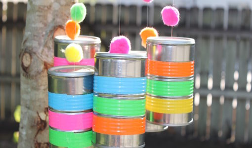 handmadebykelly.com/momtastic.com How to make a tin can windchime using colorful duct tape
